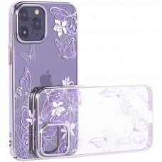 """Чехол-накладка KINGXBAR для iPhone 12 Pro Max (6.7"""") пластик со стразами Swarovski серебристый (Бабочки)"""