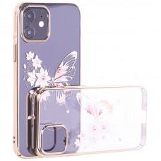"Чехол-накладка KINGXBAR для iPhone 12/ 12 Pro (6.1"") пластик со стразами Swarovski золотой (Бабочка)"