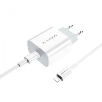 Адаптер питания BOROFONE BA38A Speedly PD+QC 3.0 fast Charger Type-C to Lightning (USB-C: 5V max 3.0A/ 20Вт) Белый