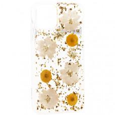"""Чехол-накладка пластиковая K-Doo Flowers TPU+Dried Flowers+Lucite для Iphone 11 (6.1"""") силиконовый борт Желтая"""
