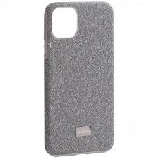 """Чехол-накладка силиконовый со стразами Mutural для Iphone 11 Pro Max (6.5"""") Серебристый вид 1"""