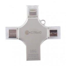Флеш-накопитель COTEetCI 4in1 Zinc Alloy (CS5129-16G) Lightning/ MicroUSB/ Type-C/ USB 2.0 Серебристый