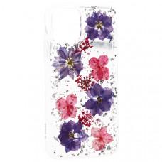 "Чехол-накладка силиконовая K-Doo Flowers TPU+Dried Flowers+Lucite для Iphone 11 Pro Max (6.5"") Сиреневая"