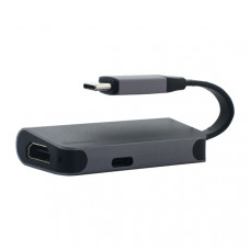 Переходник Baseus Little box (CAHUB-EOG) Type-C to HDMI/ Type-C для MacBook Графитовый