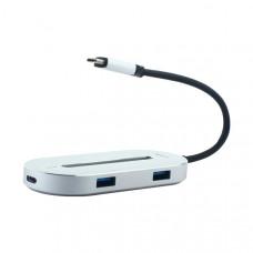 Переходник Baseus O HUB Type-C Adapter 5в1 (CABOOK-OS) Type-C to USB3.0x3/ HDMI/ Type-C для MacBook Серебристый