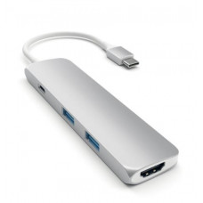 Адаптер для MacBook Satechi Slim Aluminium Type-C Multi-Port Adapter 4K ST-CMAS Silver (серебристый)
