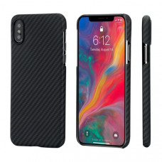 Противоударный карбоновый чехол Pitaka MagCase для iPhone XS MAX черно-серый в полоску
