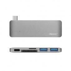 Адаптер Deppa 72219 с USB Type-C и кардридером SDHC/microSDHC для Macbook
