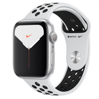 Часы Apple Watch Series 5 GPS 44mm Aluminum Case with Nike Sport Band Silver (Серебристый/Чистая Платина/Чёрный)