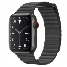 Часы Apple Watch Edition Series 5 GPS + Cellular 44mm Space Black Titanium Case with Black Leather Loop