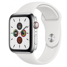 Часы Apple Watch Series 5 GPS + Cellular 40mm Silver Stainless Steel with White Sport Band