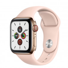 Часы Apple Watch Series 5 GPS + Cellular 40mm Gold Stainless Steel Case with Pink Sand Sport Band