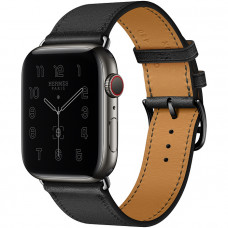 Часы Apple Watch Hermes GPS + Cellular 44mm Space Black Stainless Steel Case with Noir Single Tour