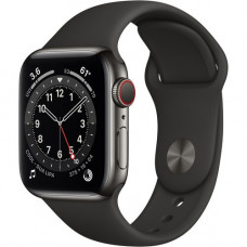 Часы Apple Watch Series 6 GPS+Cellular 44mm Graphite Stainless Steel Case with Black Sport Band