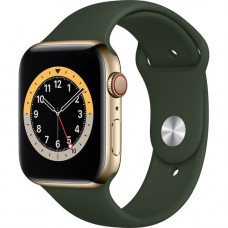 Часы Apple Watch Series 6 GPS+Cellular 44mm Gold Stainless Steel Case with Cyprus Green Sport Band