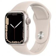 Умные часы Apple Watch Series 7 GPS 45mm Starlight Aluminium Case with Sport Band (MKN63RU/A)