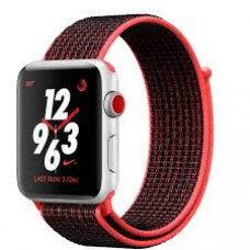 Apple Watch Nike  Series 3 Cellular 42mm Silver Aluminum with Bright Crimson/Black Sport Loop MQLE2