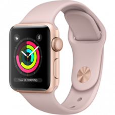 Часы Apple Watch Series 3 38mm GPS Gold Aluminum Case with Pink Sand Sport Band MQKW2