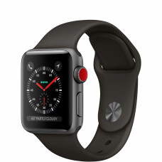 Apple Watch Series 3 38mm GPS + Cellular Space Gray Aluminum Case with Black Sport Band MQJP2