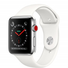 Часы Apple Watch Series 3 Cellular 42mm Stainless Steel Case with Soft White Sport Band MQK82