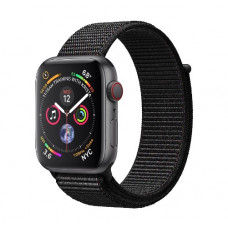 Часы Apple Watch Series 4 GPS+Cellular 44mm Space Gray Aluminum Case with Black Sport Loop  (Серый корпус/Черный ремешок)