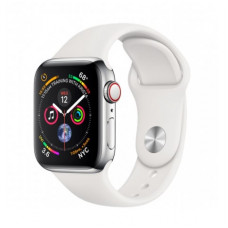 Часы Apple Watch Series 4 Cellular 40mm Stainless Steel Case with White Sport Band