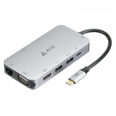 Адаптер ACD Fusion С110 10-в-1 (UCB-C в 3xUSB3.0/HDMI/VGA/LAN/SD/mSD/Audio/PD-90W)