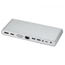 Док-станция Lime D12 12 в 1 (UCB-C в 4xUSB3.0/DP/HDMI/VGA/LAN/2xAudio/PD-100W/СЗУ-75Вт/HDMI+)