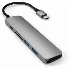 USB-концентратор Satechi Slim Multi-Port V2 (ST-SCMA2M) Type-C 4K (Space Gray)