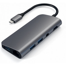 USB-концентратор Satechi Aluminum Type-C Multimedia Adapter ST-TCMM8PAM Space Gray (серый)