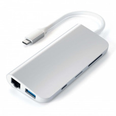 USB-концентратор Satechi Aluminum Type-C Multimedia Adapter ST-TCMM8PAS Silver (серебристый)